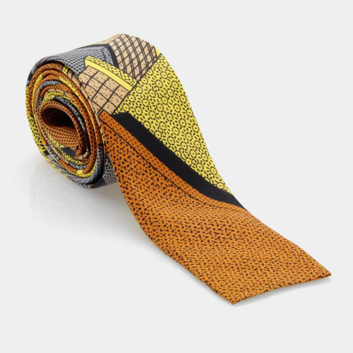 Yellow-Brown Tie - Memphis Milano
