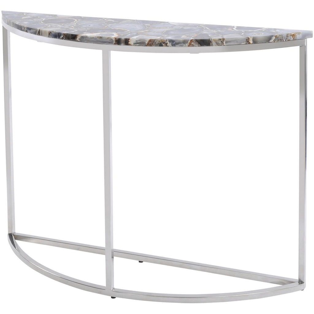 Agate Crescent Console Table [Nickel Frame] - Spa Living