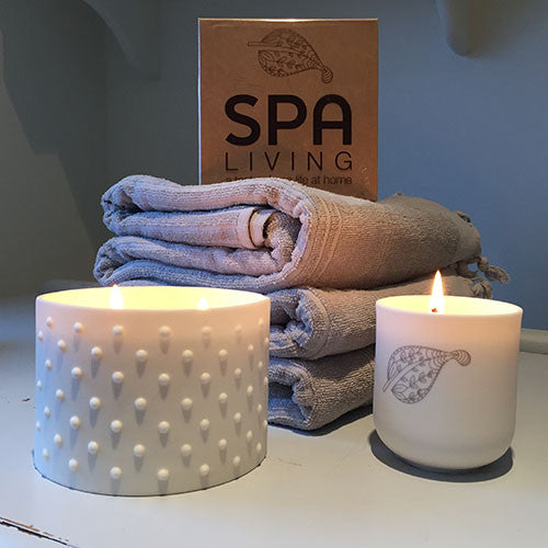 Fragranced Candle in Porcelain Tea Light Holder - Spa Living