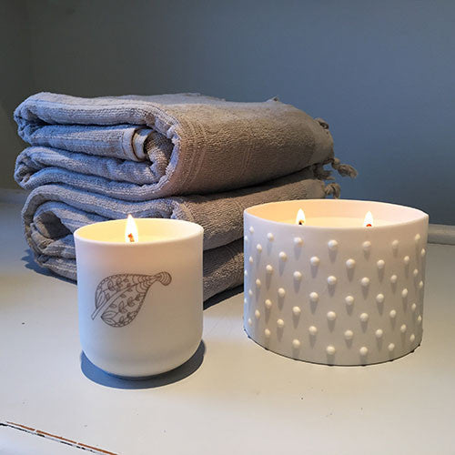 New Spa Living Fragranced Candle in Porcelain Tea Light Holder - Spa Living