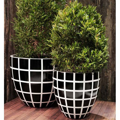 Egg Planter Designer Pots Black and White Check, Outdoor Poolside Planting, Spa Living