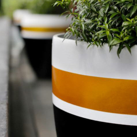 Garden Planter Designer Pots Black White and Gold, Outdoor Sculpture and Poolside Planting - Spa Living