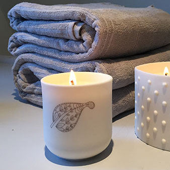 Porcelain Leaf Design Bergamot Fragranced Candle, Lighting, Spa Living - Spa Living