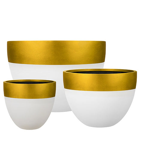 Egg Planter Designer Pots Gold and White, Outdoor Sculpture and Poolside Planting