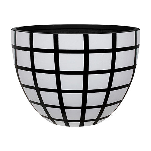 Egg Planter Designer Pots White and Black Check, Outdoor Sculpture and Poolside Planting - Spa Living