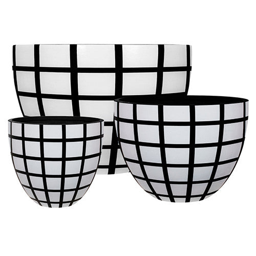 Egg Planter Designer Pots White and Black Check,