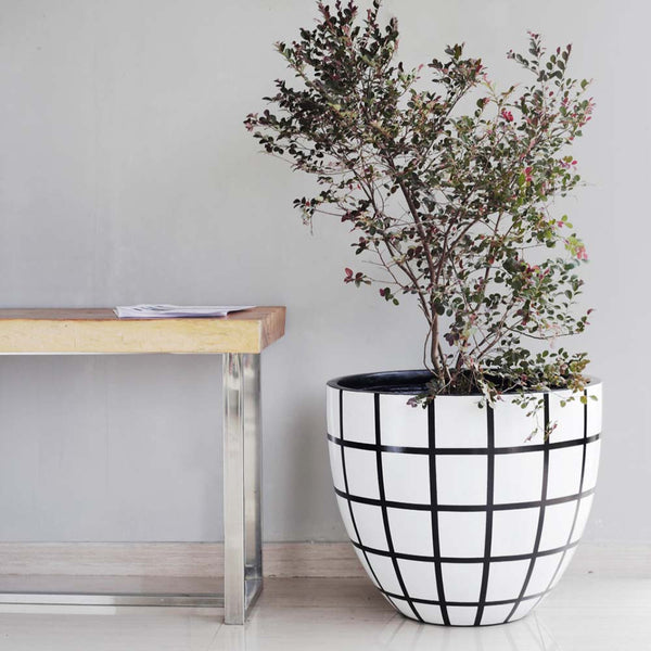 Egg Planter Designer Pots White and Black Check, Outdoor Sculpture and Poolside Planting