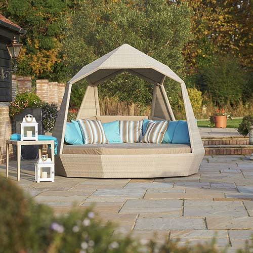 The Jewel Day Bed in the garden, Outdoor Garden Furniture, Spa Living