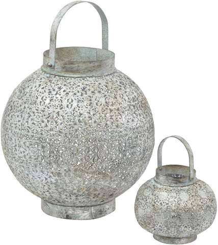 Verdigris large round Filigree Lantern, Spa Living