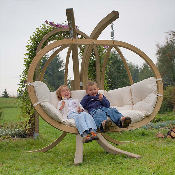 Wooden Hanging Swing Seat with Stand & Cover [Double] - Spa Living