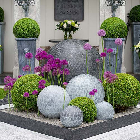 Zinc Leaf Balls, Outdoor Sculpture, Spa Living - Spa Living
