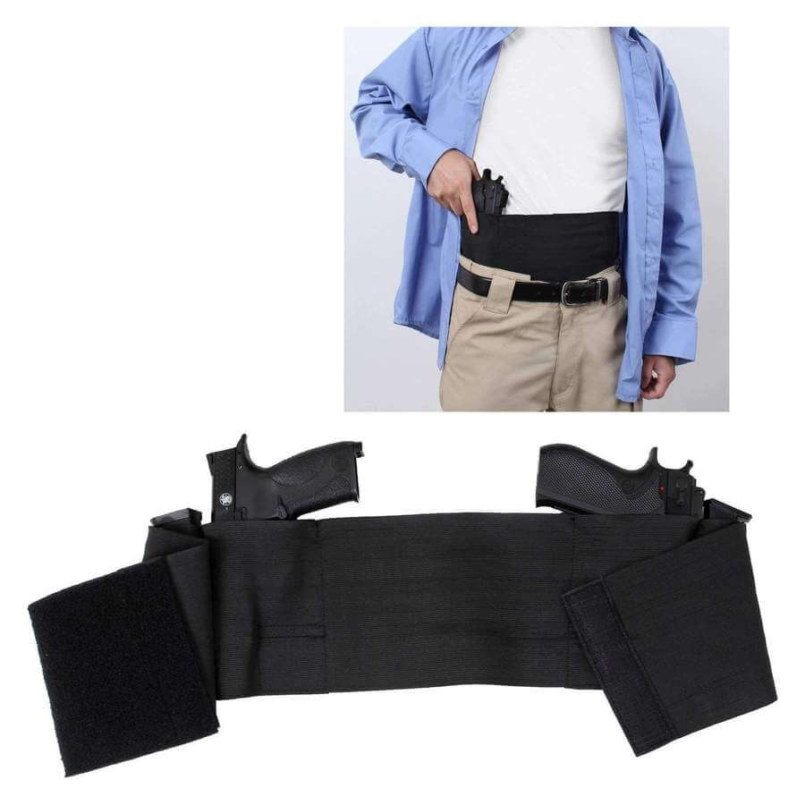 Concealed Carry Waist Holster For Two Pistols, Ambidextrous Draw, Fits Any Waist Size