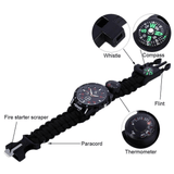 5-in-1 Tactical Emergency Survival Multi-Purpose Watch With Paracord, Compass, Whistle, Fire Starter And Thermometer