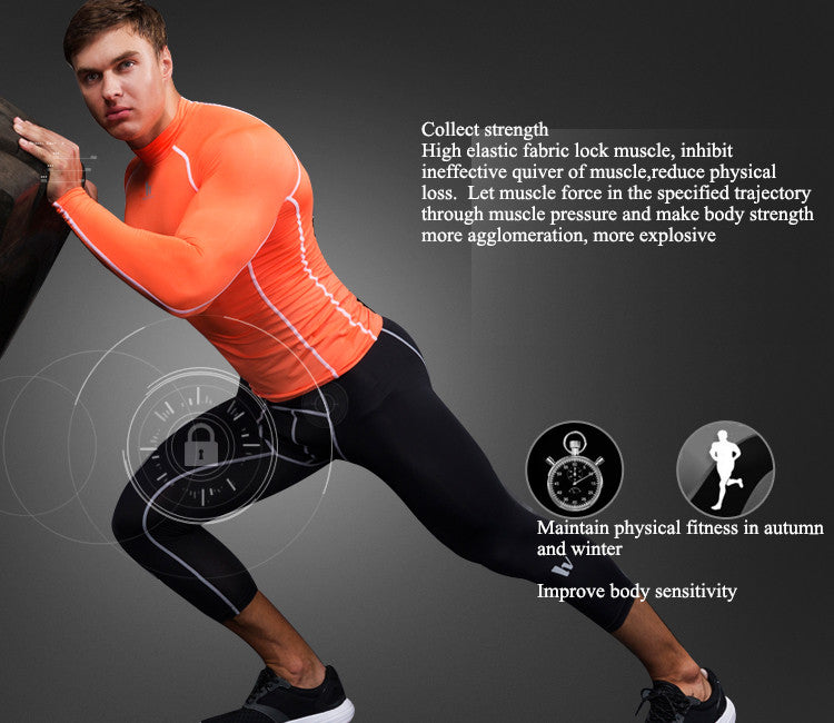 Collect strength,High elastic fabric lock muscle, inhibit ineffective quiver of muscle,reduce physical loss.  Let muscle force in the specified trajectory through muscle pressure and make body strength more agglomeration, more explosive.Maintain physical fitness in autumn and winter,Improve body sensitivity