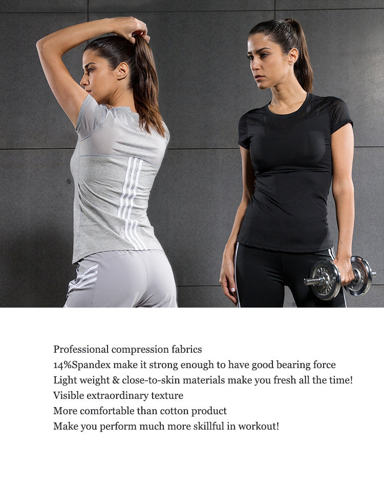 Professional compression fabrics; 14%Spandex make it strong enough to have good bearing force; Light weight & close-to-skin materials make you fresh all the time; Visible extraordinary texture; More comfortable than cotton product; Make you perform much more skillful in workout!