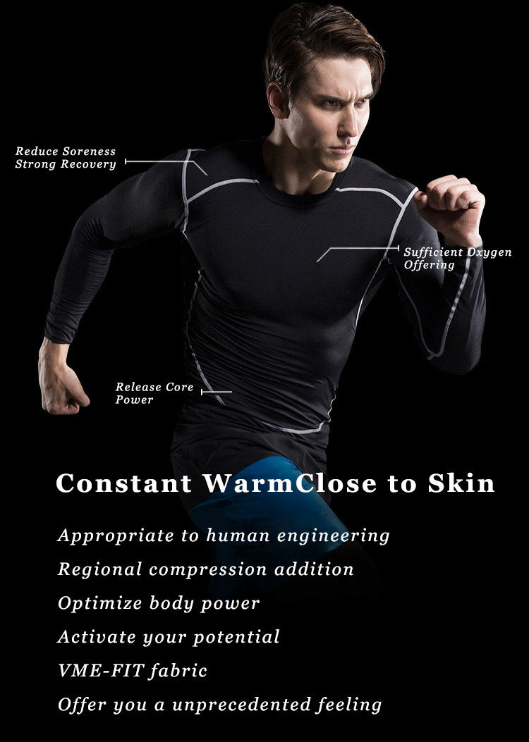 Reduce Soreness;Strong Recovery;Release Core Power;Sufficient Oxygen Offering.Constant Warm,Close to Skin.Appropriate to human engineering,Regional compression addition.Optimize body power,Activate your potential,VME-FIT fabric,Offer you a unprecedented feeling