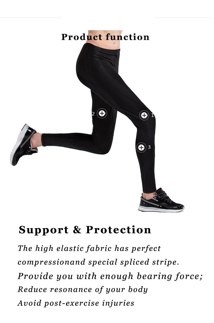 Support & Protection; The high elastic fabric has perfect compression and special spliced stripe; Provide you with enough bearing force; Reduce resonance of your body; Avoid post-exercise injuries.