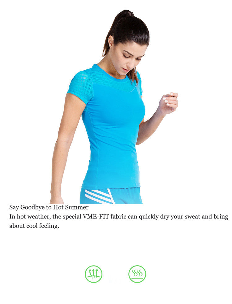 Say Goodbye to Hot Summer! In hot weather, the special VME-FIT fabric can quickly dry your sweat and bring about cool feeling.