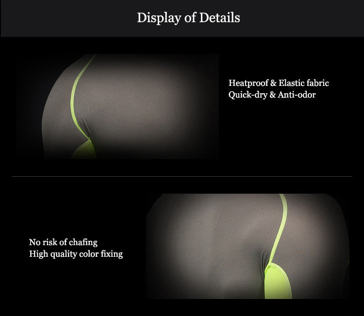 Display of Details,Heatproof & Elastic fabric,Quick-dry & Anti-odor,No risk of chafing,High quality color fixing