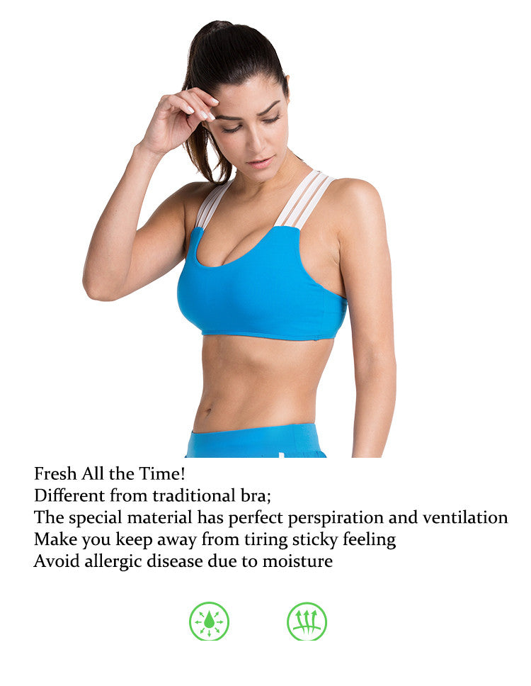 Fresh All the Time!Different from traditional bra;The special material has perfect perspiration and ventilation.Make you keep away from tiring sticky feeling.Avoid allergic disease due to moisture