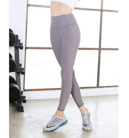 High Waist Pure Color Tights.Gray