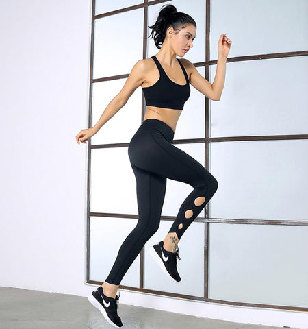 High Waist Pierced Leggings_black