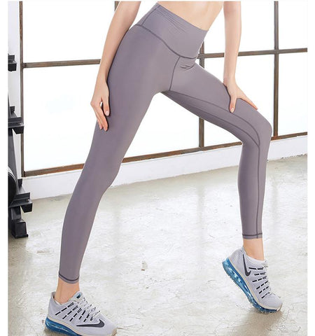 High Waist Pure Color Tights-gray