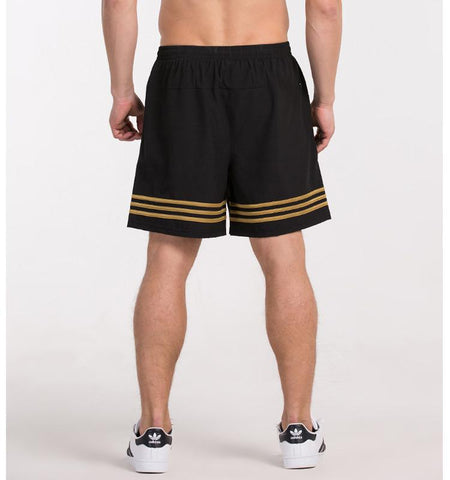 Double Side Stripes Shorts.Black-yellow