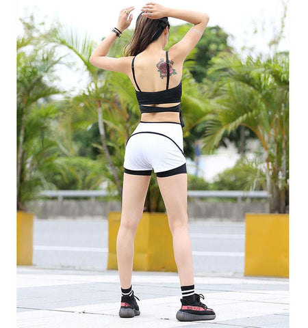 Dual-Layer High Waist Shorts,white