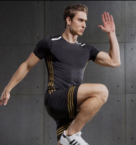 Three Stripes Compression Short Sleeves.Black-yellow