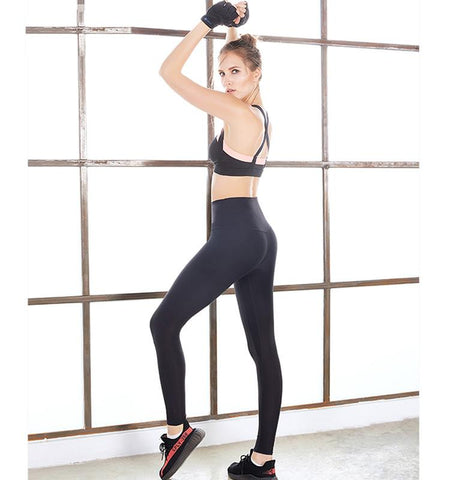 High Waist Pure Color Tights.black