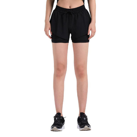 Dual-Layer Part Hollowed-out Shorts