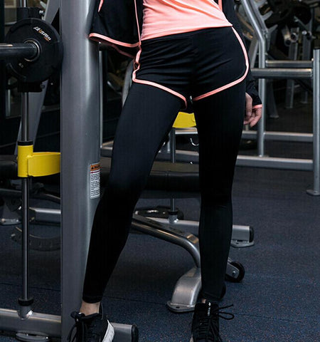 Dual-Layer Leggings with Shorts.Black-pink