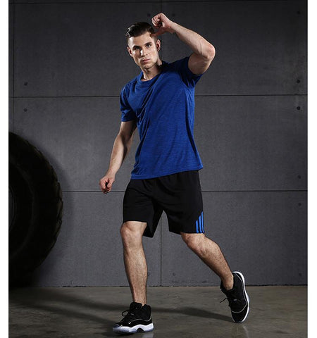 Three Stripes Side Shorts with Zipper Pockets.black-blue