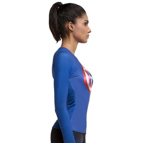 Captain America Long Sleeve Workout Tops
