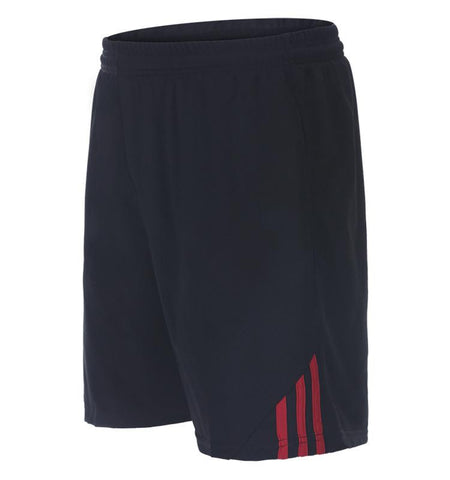 Three Stripes Side Shorts with Zipper Pockets.black_red