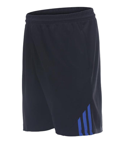 Three Stripes Side Shorts with Zipper Pockets.black_blue
