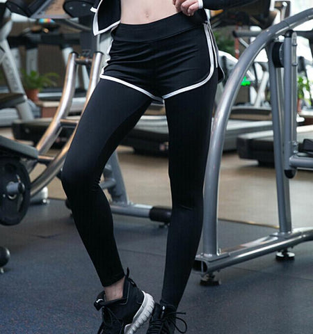 Dual-Layer Leggings with Shorts.Black-white