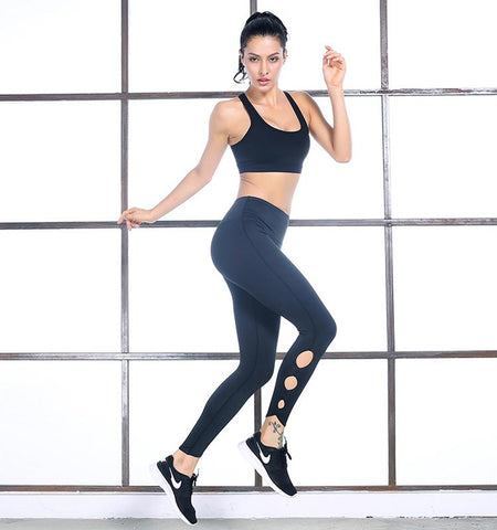 High Waist Pierced Leggings.black