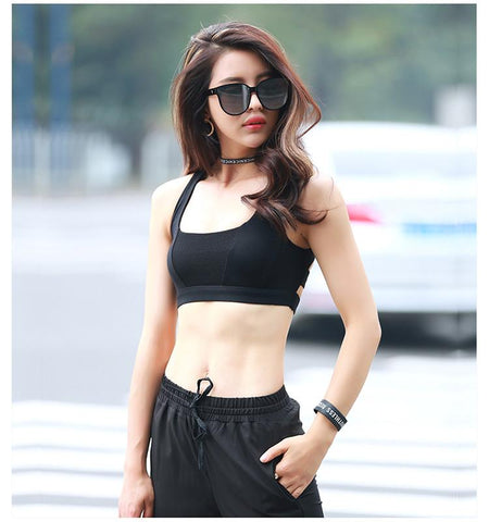 Cross Shoulder Strap Bra.black