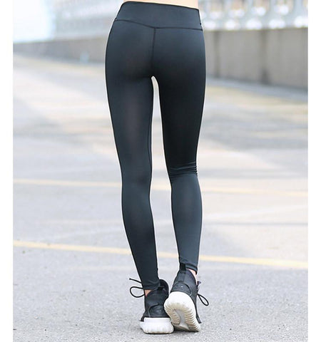 High Waist Pure Color Tights-Black