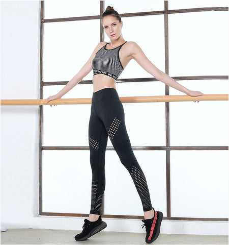 High Waist Mesh Leggings-BLACK