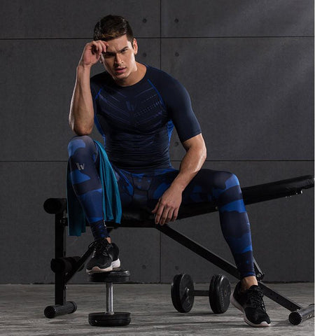 Men's Captain America Design Compression Pants