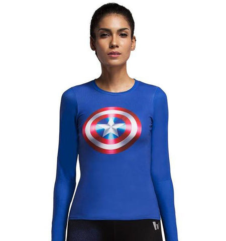 Captain America Printed Long Sleeve Cute Cheap Workout Clothes Tops