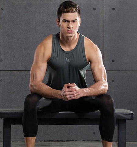 Pure Color Compression Workout Tank Tops for Men