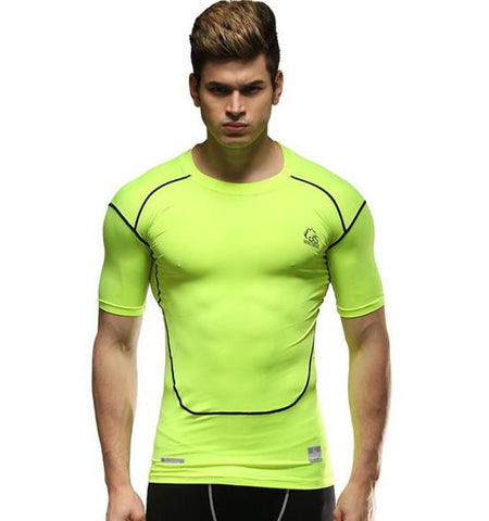 Classic Men's Gym Clothing Short Sleeve Compression Shirts