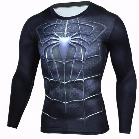 Spiderman Workout Shirt Compression Long Sleeves