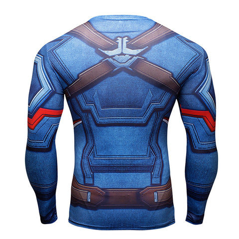 Captain America Compression Shirt Long Sleeves