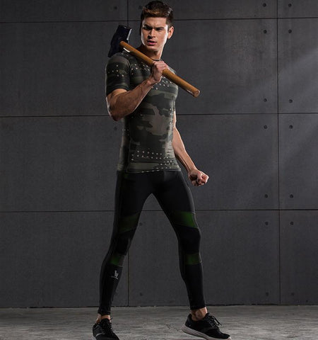 High Impact Green Splicing Color Men's Compression Tights