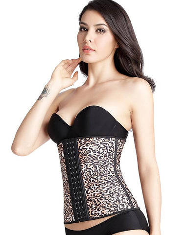 This is leopard latex corset.